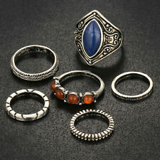 6pcs Vintage Tibetan Silver Midi Ring Boho Beach  Rings Set Women Jewelry Gift