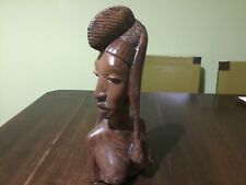 """Vintage Wooden Carved African Nude Woman Bust Statue Sculpture 13""""/ 33cm High"""