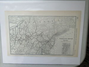 Original Vintage Map of the Pennsylvania Railroad System (Eastern Section)~ 1910