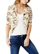 G BY GUESS MS SIZE LARGE IVORY BROWN ANIMAL PRINT LONG SLEEVE OPEN FRONT JACKET