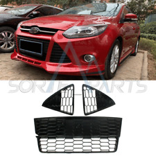 For 2012-14 Ford Focus & 3 PCS Front Bumper Lower Grille + Covers L+R HoneyComb