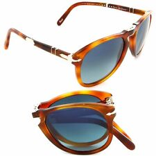 Persol Steve McQueen PO714SM 96/S3 52mm Light Havana Polarized Blue Gradient