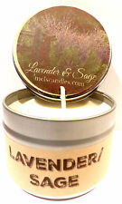 Lavender & Sage Homemade 4oz Tin Soy Candle - Easy to take any where, great gift