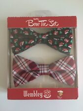Bow Tie Set Christmas Wembley Spiffy Mens 2pc Red Plaids & Navy Holiday Xmas