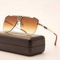 Designer Oversized Aviator Sunglasses Retro Metal Bar Men's Fashion Shades UV400