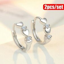 1Pair 925 Sterling Silver Crystal Diamond Gems Hoop Huggie Earring Women Jewlery