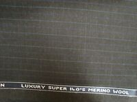 "4.44 yd Donald Peebles Wool Fabric 6.5 oz Super 140s Suiting Charcoal 160"" BTP"