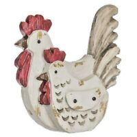 Rooster and hen sitting close together. Cute Countryside Home Decor