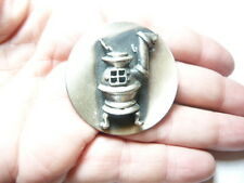 Vintage pewter tone Pot Belly Stove round metal brooch