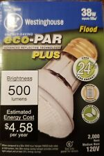 6 (Six) Westinghouse eco-PAR PLUS 38 watts Reflector Halogen Flood Light Bulbs