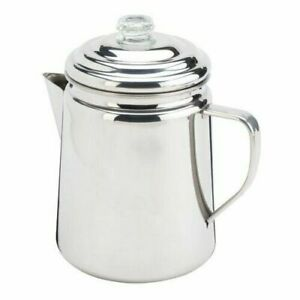 NEW Coleman 12 Cup Stainless Steel Stovetop Camping Coffee Tea Pot Percolator