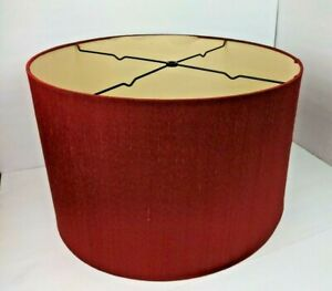 "Large Drum Lamp Shade Red Burgundy 18.5"" Diameter 12"" Height"