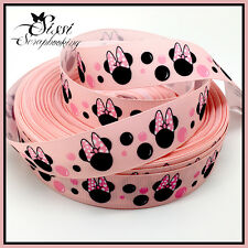 RUBAN GROS GRAIN MINNIE MICKEY DISNEY ROSE SCRAPBOOKING COUTURE BAPTEME DIY 22mm