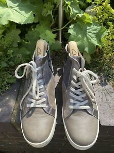 JOSEF SEIBEL LEATHER ANKLE ZIPPED BOOTS SIZE EUR 40 Uk 6.5 GREY / GREEN