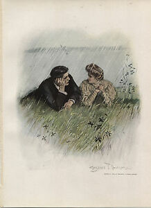 Clarence F Underwood Vintage Victorian Print-Couple Lying in the Rain- c1909