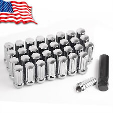 32 Chrome Long 7 Spline Lug Nuts 14X1.5 + Key fits Chevy Silverado 2500 3500 HD