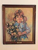 """""""BLACK-EYED SUSAN"""" by Lisette De Winne Limited Edition Print Wooden Frame Signed"""