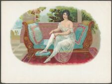 Woman in Lacy Nightgown Lounges on Greek Couch Vintage Cigar Box Label