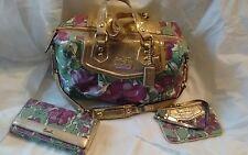 COACH Madison Purple Floral Audrey w/Gold Satchel Hand Bag & Wallet/Wristlet