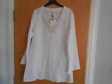 Ladies Malvin Linen Pearl and Bead Tunic Style Top, White, Size 14, BNWT