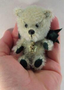 "Miniature Green Mohair jointed 3 1/4"" Teddy Bear 2005 by artist Beth Diane Hogan"