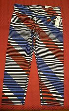 NWT $59 Tommy Hilfiger Sport Striped Active Leggings Crop Mid Rise Pants Large