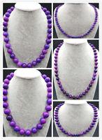 Pretty!! 6-14mm Purple Sugilite Gemstone Round Beads Necklace 18''
