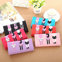 Women Cat Cartoon Wallet Card Holder Casual Ladies Clutch PU Leather Coin Purse