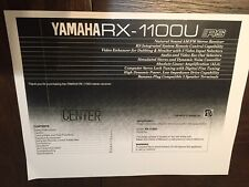 Owners manual operating instructions for Yamaha RX-1100U AM/FM Stereo Receiver