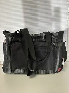 Fisher-Price striped Fastfinder Deluxe Tote Diaper Bag Black and Grey Unisex