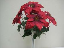 "RED Christmas Poinsettia Bush Glitter 5 Artificial Flowers 18"" Bouquet 139RD"