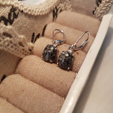 Austrian Pinolith leverback earrings in platinum over Sterling silver