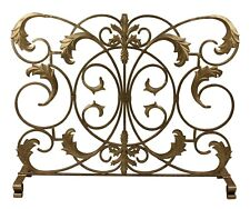 "Fireplace Screens - ""Firenze"" Acanthus Leaf Fire Screen - Antique Gold"
