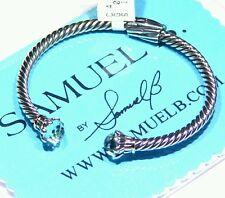 Samuel B Behnam Natural Cut Stone 18K Gold Sterling Silver 925 Vintage Bracelet