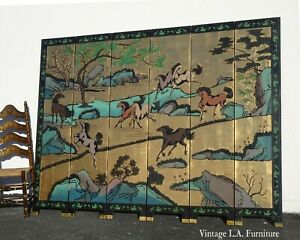 Vintage Chinese Japanese Gold Leaf Lacquer Six Panel Coromandel Screen w Horses