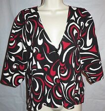 Style & Co Womens Sweater Cardigan Large Lightweight Silk Blend Red Black White