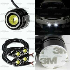 2x Pair White LED DRL 25mm x 20mm 12V 3W Eagle Eye Daytime Running Light Lamps