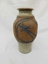 """ABSTRACT POTTERY STONEWARE VASE URN LID COVERED 10.5"""" TALL RUSTIC BEAUTY"""