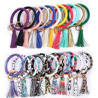 PU Leather Key Ring Wristlet Keychains O-ring Bracelet Tassel Pendant Bangle