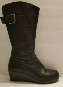 Crocs A-Leigh Black Leather Wedge Zip Up Buckle Boots Women's Size US 7.5