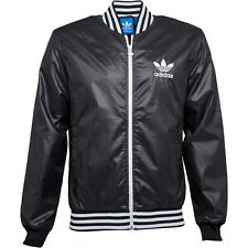 adidas Originals Shiny Nylon Wet Look effect Baseball Bomber Jacket Small 34-38""