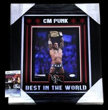 CM PUNK BEST IN THE WORLD SIGNED FRAMED MATTED WWE CHAMPION 8X10 PHOTO JSA COA