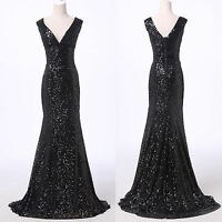 PLUS SIZE Deep-V SEQUINS Long Prom SLIM Dress HOMECOMING Evening Party Ball Gown
