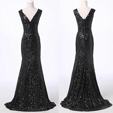 Luxury SEQUINS Women Long Wedding Evening Party Ball Gown Prom Bridesmaid Dress