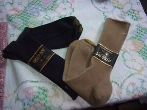 2 Pairs Vintage?  Gold Toe Cotton~ Fluffies Socks  Made in USA  Sz 10-13