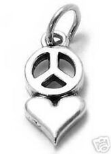 925 Sterling Silver Heart with Peace Symbol Charm
