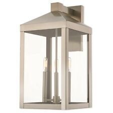 "Livex Nyack 3 Light Outdoor Wall Lantern in Brushed Nickel, 10.5""w - 20585-91"
