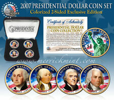 2007 USA MINT COLORIZED PRESIDENTIAL $1 DOLLAR 4 COINS SET WITH BOX
