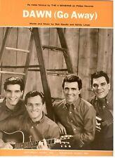 """THE 4 FOUR SEASONS """"DAWN"""" (GO AWAY) PIANO/VOCAL/GUITAR SHEET MUSIC-1963-RARE-NEW"""