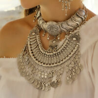 Boho Choker Chunky Handmade Antique Silver Statement Large Coin Collar Necklace